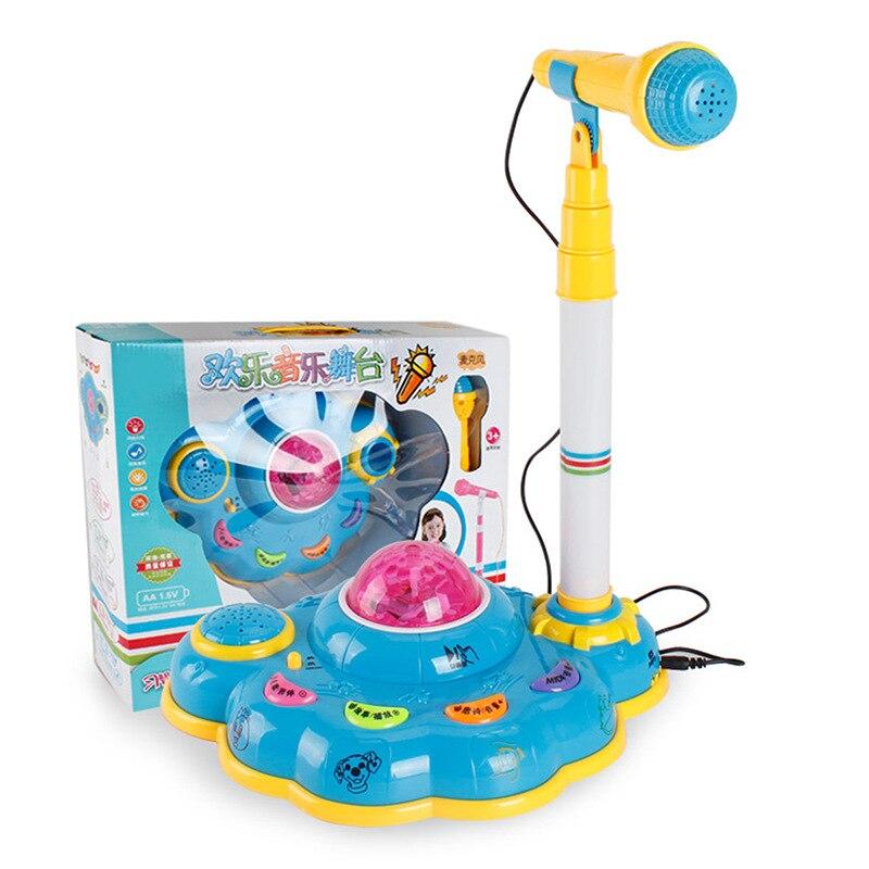 Children Birthday Cake Toy Vertical Type Karaoke Singing Microphone Music Fountain With Lighting