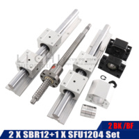 SBR12UU bearing block+12mm linear track support SFU1204 axle Guide + a group of spherical propeller BKBF10 standard processing