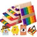 50Pcs Natürliche Holz Sticks Popsicle Eis Stick Kind DIY Handgemachten Haus Kunst Handwerk Kinder Spielzeug Geschenk Geburtstag Party dekoration