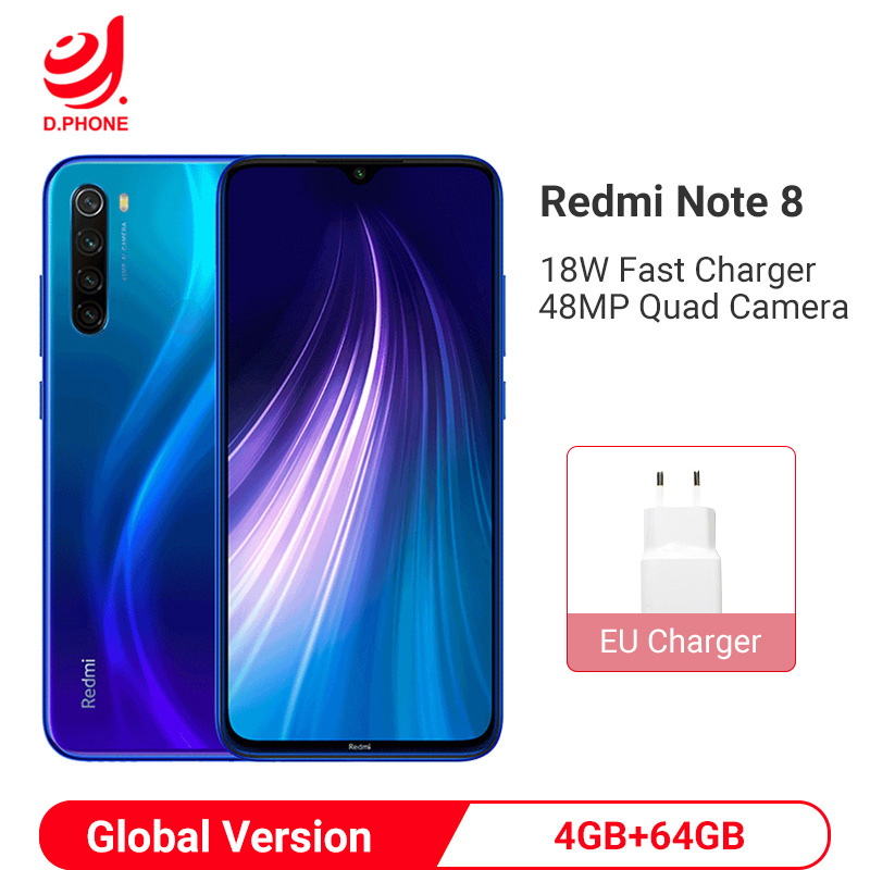 Globale Version <font><b>Xiaomi</b></font> <font><b>Redmi</b></font> Hinweis 8 4GB 64GB Smartphone Snapdragon 665 Octa Core 48MP Quad Hinten Kamera 6,3