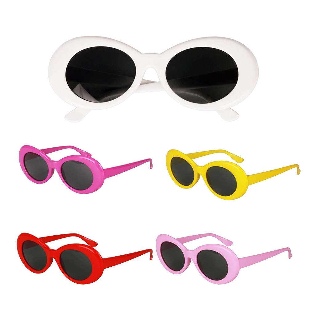 Vintage Bold Mod Thick Oval Sunglasses Chic Clout Goggles Glasses Party Costume Novelty Sunglasses Cool Kurt Cobain Glasses