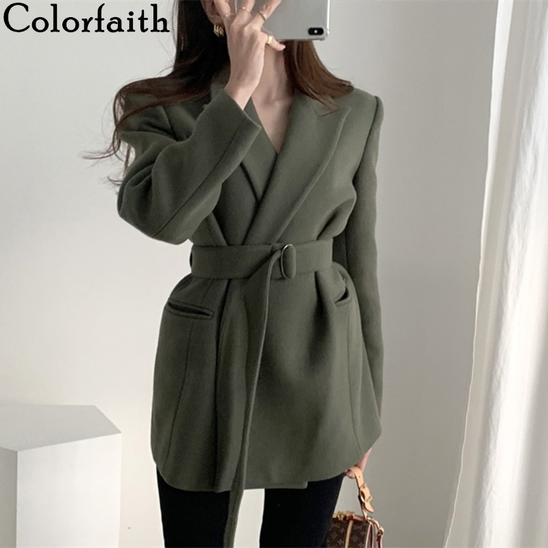Colorfaith New 2020 Spring Winter Women's Blazers Woolen Pockets Formal Jackets Outerwear Lace Up Office Lady Wild Tops JK8033-1