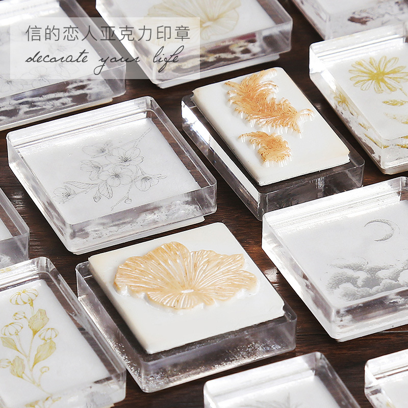 Vintage Moon Star Flower Feather Stamp DIY Acrylic Rubber Stamps For Stationery Scrapbooking Transparent Stamps