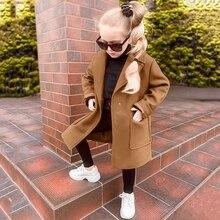 Детское шерстяное пальто для маленьких девочек; зимнее теплое пальто с длинными рукавами; плотная ветрозащитная верхняя одежда; куртка; Новая повседневная одежда