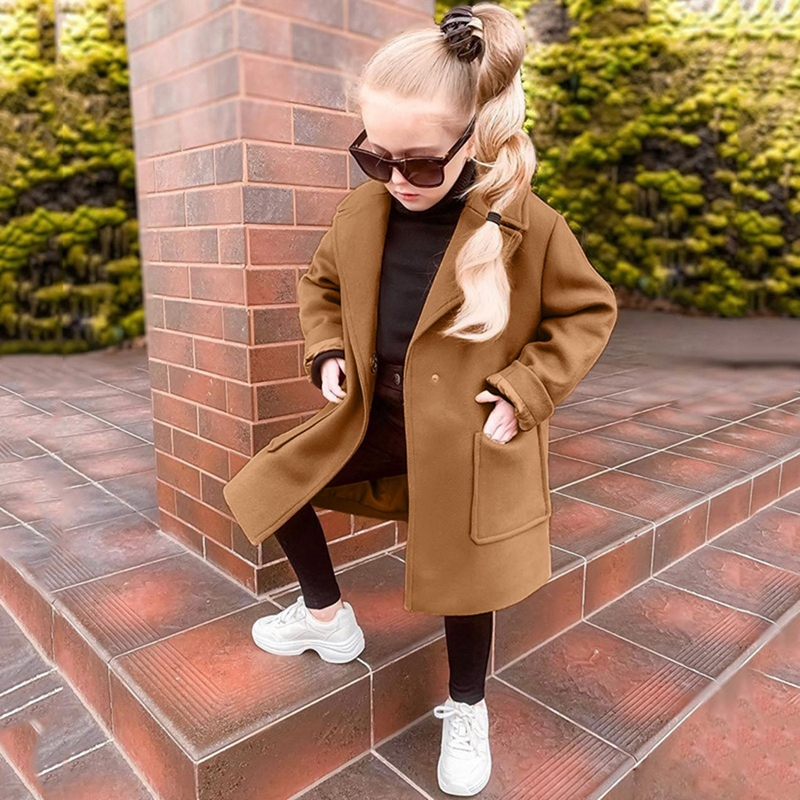 Kids Baby Girls Woolen Overcoat Winter Warm Coat Long Sleeve Solid Thick Windproof Outwear Jacket New Casual Onesies Clothes