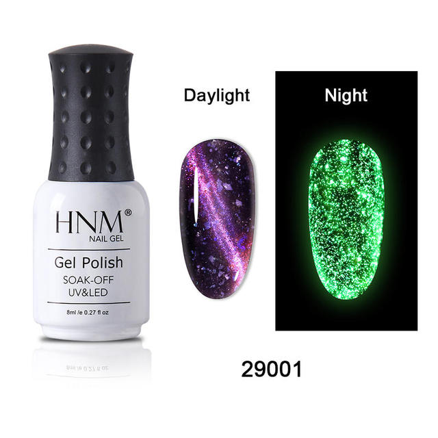 HNM 8ML Fluorescent 3D Cat Eye Gel Nail Polish UV LED Soak Off Fluorescent Varnish Primer Long Lasting Glow In Dark Gel Polish 3