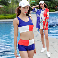 Tankini Bikinis Swimming Suit For Women Pool Swimsuit 2019 Swimwear New Sports Splitd Mesh Shirt Three Piece Letter Polyester
