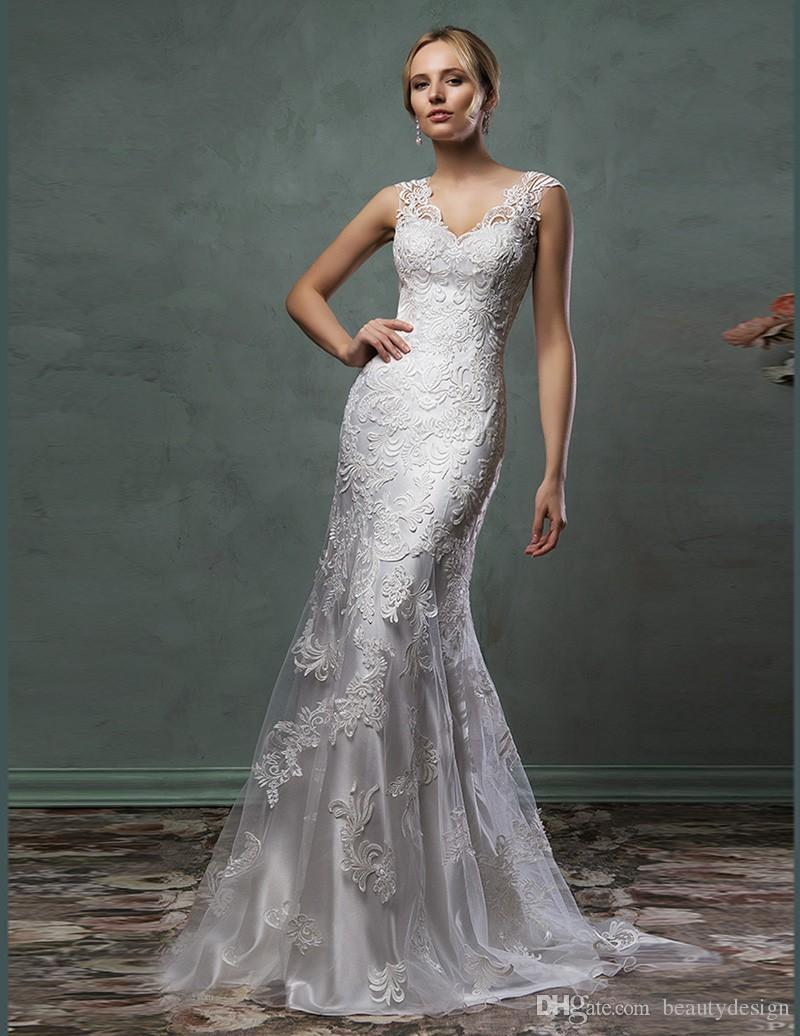 free shipping vestido de noiva casamento mermaid robe de mariee mariage appliques lace Wedding Dress 2020 cheap Bridal Gown