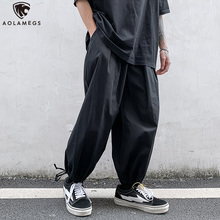 Aolamegs Pants Men Hip Hop Solid Color Thin Casual Trousers Harajuku Cotton Harem Drawstring Oversize Streetwear