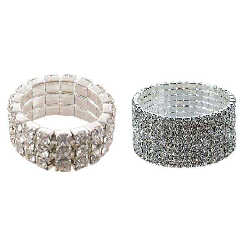 Pulsera De Boda Nupcial Diamante Cristal Bling diamante de imitación Pulsera Elástica mejor