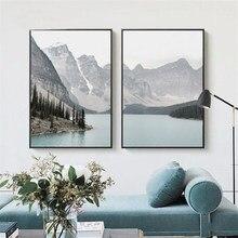 Inverno neve montanha paisagem pintura da lona decoração nordic casa arte cartazes e impressões decoração par de para sala de estar