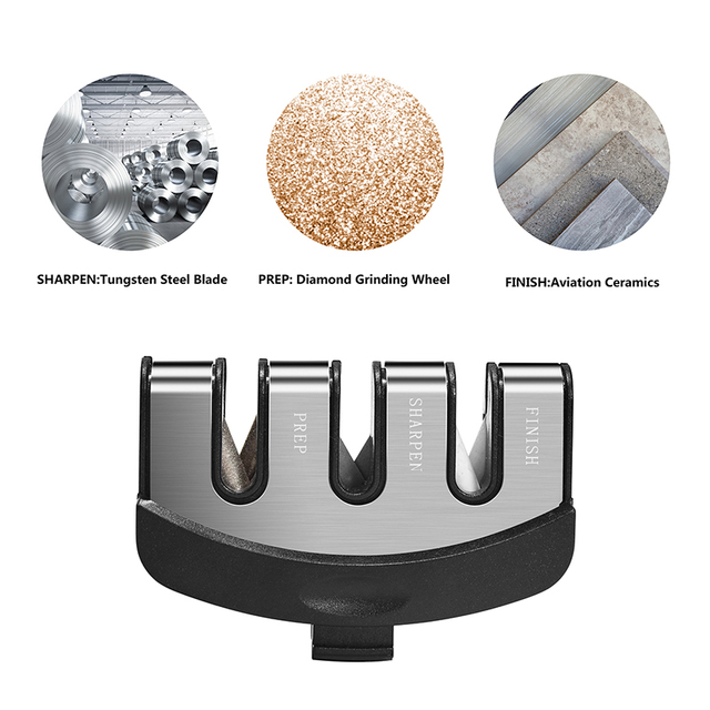 FHEAL 3 Fasi per Affilare i coltelli Professionali Da Cucina Affilatura di Pietra In Acciaio Al Tungsteno di Ceramica Coltelli Da Cucina Accessori 3