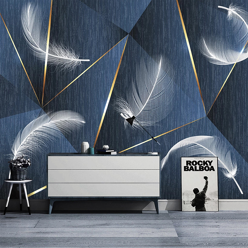 Photo Wallpaper 3D Stereo Feather Modern Geometry Murals Living Room Bedroom Home Decor Abstract Art Wall Stickers PVC Wallpaper