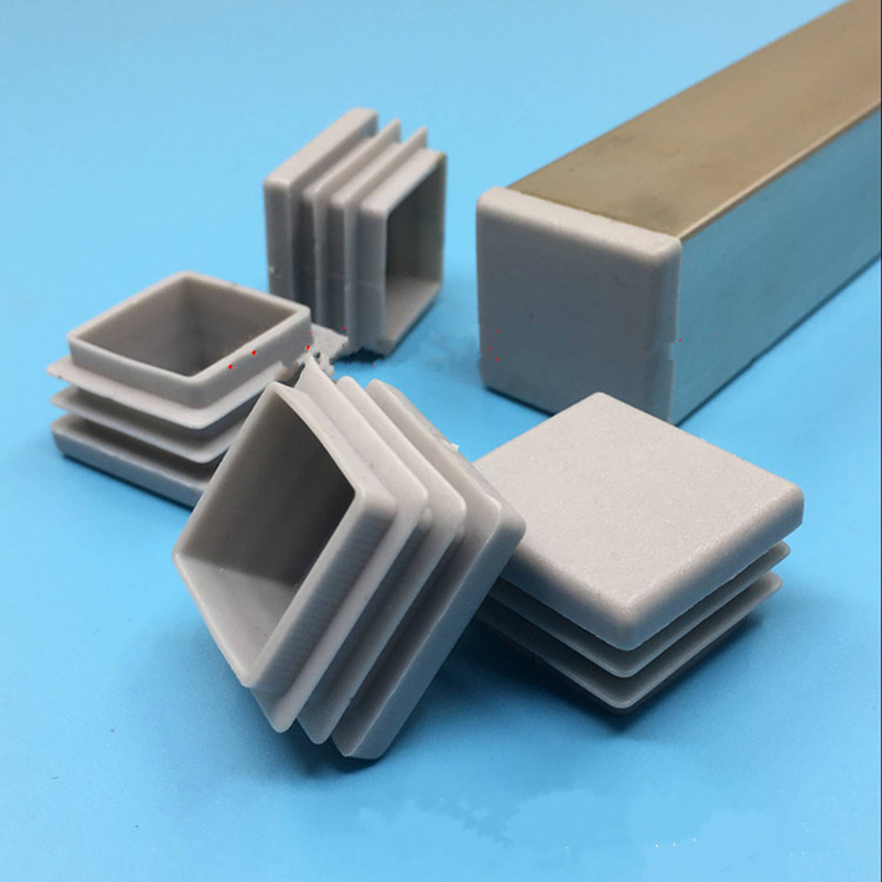 4-10pc Gray Inner Plug Dust Cover Plastic Square Tube Pipe Blanking End Cap Bung For Furniture Chair Table Steel Leg Protector