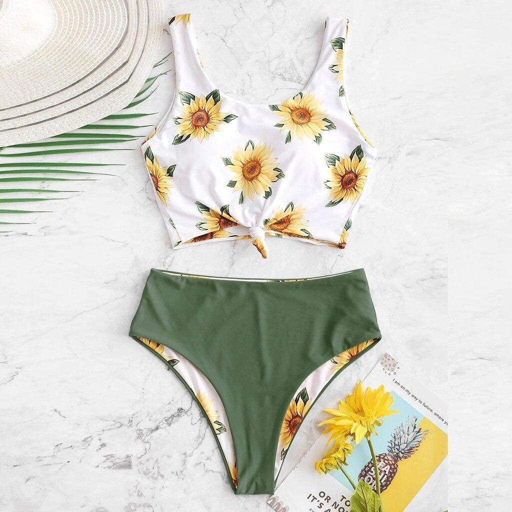 Women Strappy Bikini Set Two Piece Swimwear Sunflower High Waist Bottom Tankini