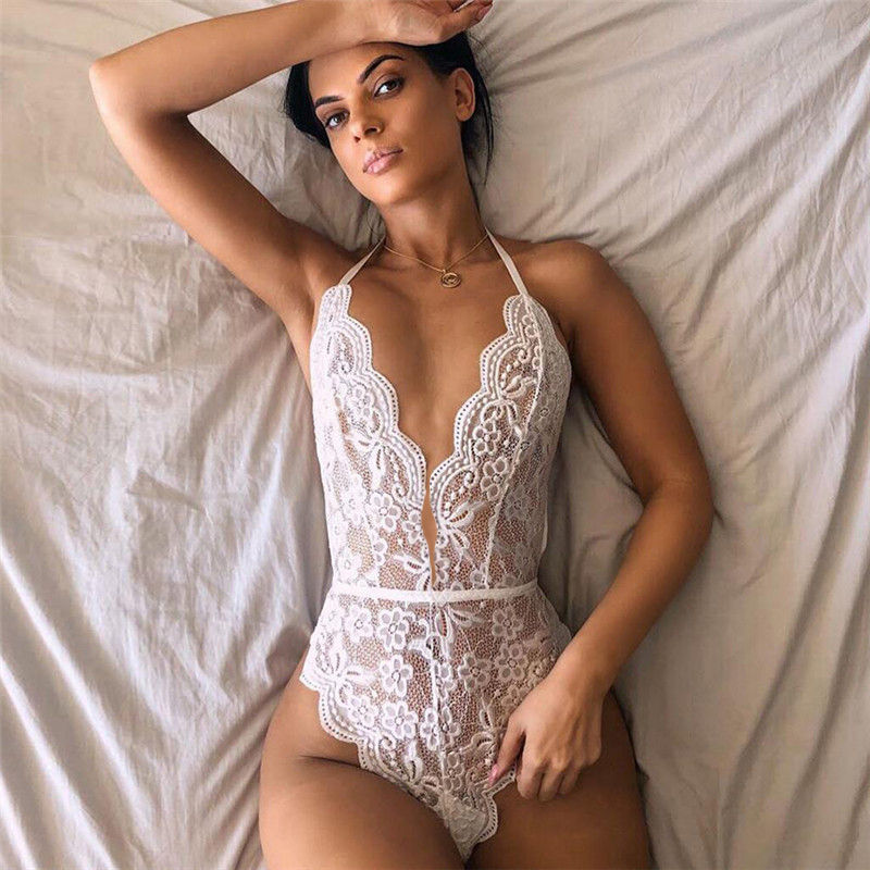 Women White Lace Body Suits Deep V Hot Erotic Lingerie Halter Rompers Sexy Teddies Bodysuits Plus Size Underwear Sexy Costumes
