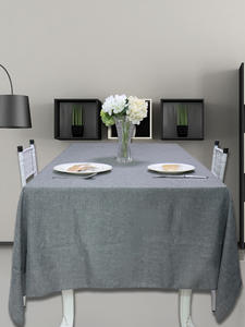 Linen Tablecloth Decorative Kitchen-Table Rectangular Waterproof Gray Imitated Khaki