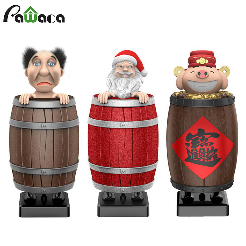 Novelty Cigarette Box Pig Lucky Santa Claus Wooden Barrel Automatic Loading Cigarette Case Dispenser, Cool Smoking Pose, Gift