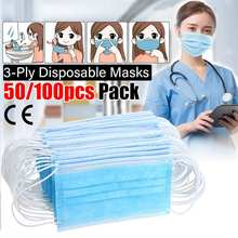50Pcs Disposable Dustproof Surgical Masks Non wove Anti PM2.5 3 Layer Ply Filter Elastic Mouth Face Mask Dust Soft Breathable