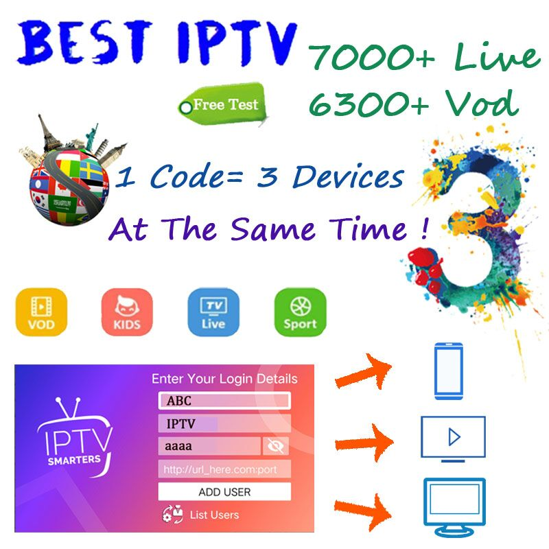 IPTV 1 Year Subscription 7500 Live 6000 VOD French Arabic UK Gemany Europe Iptv Free Test For Android M3u Smart TV 1=3 Devices
