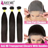 Hd Transparent Closure With Bundles 6X6 Lace Closure And Bundles Remy Brazilian Straight Human Hair Weave 3 Bundles With Closure