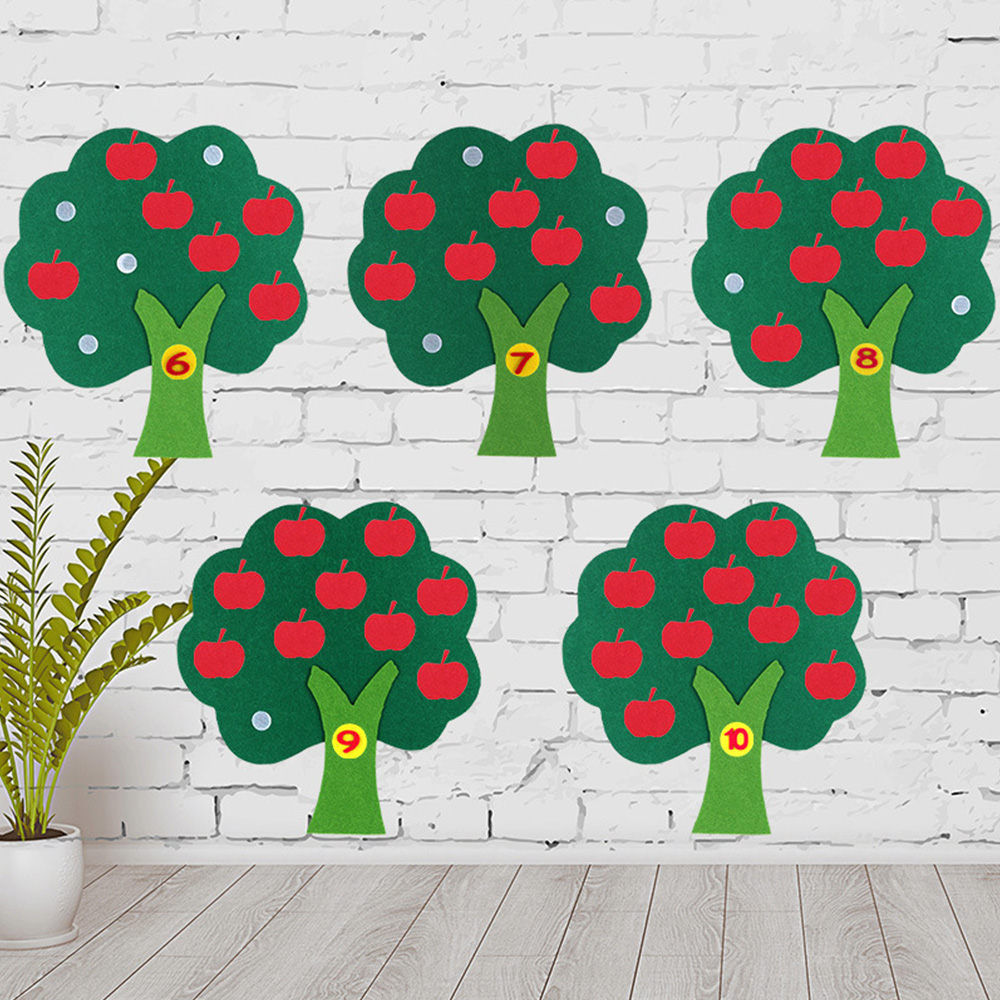 Children Toy Apple Tree Count Numbers Toy Apple Tree Match Digital Teaching Non-Woven Puzzle Math Toy Hot Montessori Educational