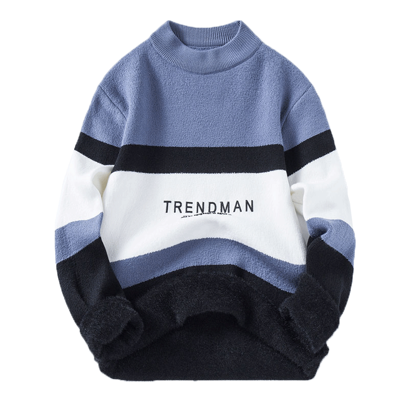 2021 Sweater Men Streetwear letter Splicing Hip Hop Winter New Pull Over Spandex O-neck Oversize Couple Casual Men's Sweaters