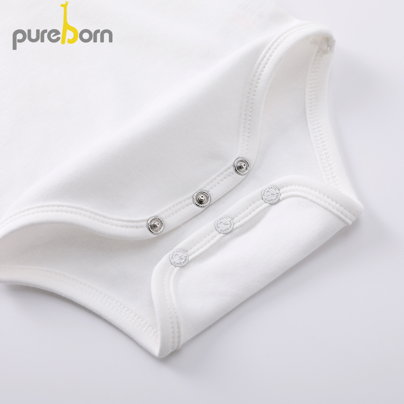 Image 5 - Pureborn Newborn Baby Bodysuit Peter Pan Collar Long Sleeve Jumpsuit Boys Girls Infant Outfits Solid Cotton Bapstim CostumeBodysuits   -