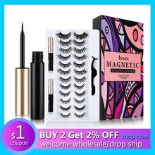 Magnetic Mascara Lengthens False Eyelashes Liquid Eyeliner Female Makeup Tools Thick Lengthening Waterproof Eyelash Kit Dropship