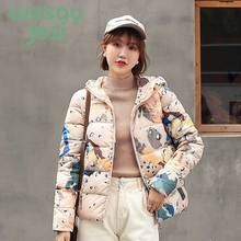Women Winter 2019 short parkas coat Casual style Thick warm hooded printed jacket female winter