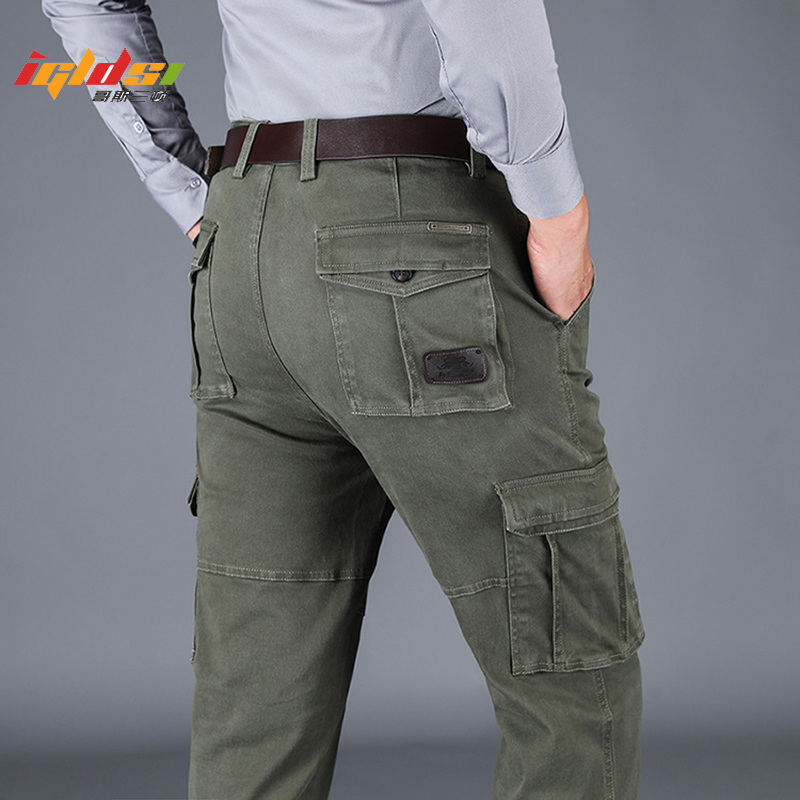 Men's Spring Cargo Pants Cotton Military Multi-pockets Joggers Baggy Pants Casual Trousers Overalls Army Pants Plus Size 44
