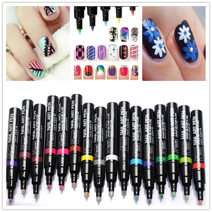 16 Colors Gel Nail Polish Pen Lazy Pen Multi-Color Optional UV Nail Art Gel Lacquer Gel Paint Waterproof Quick-Drying
