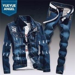 Primavera Mens Denim Due Pezzi Set Foro Strappato Slim Fit Giacca di Jeans Jeans Imposta Maschio Casual Vintage Ropa Hombre Cargo Vestito streetwear