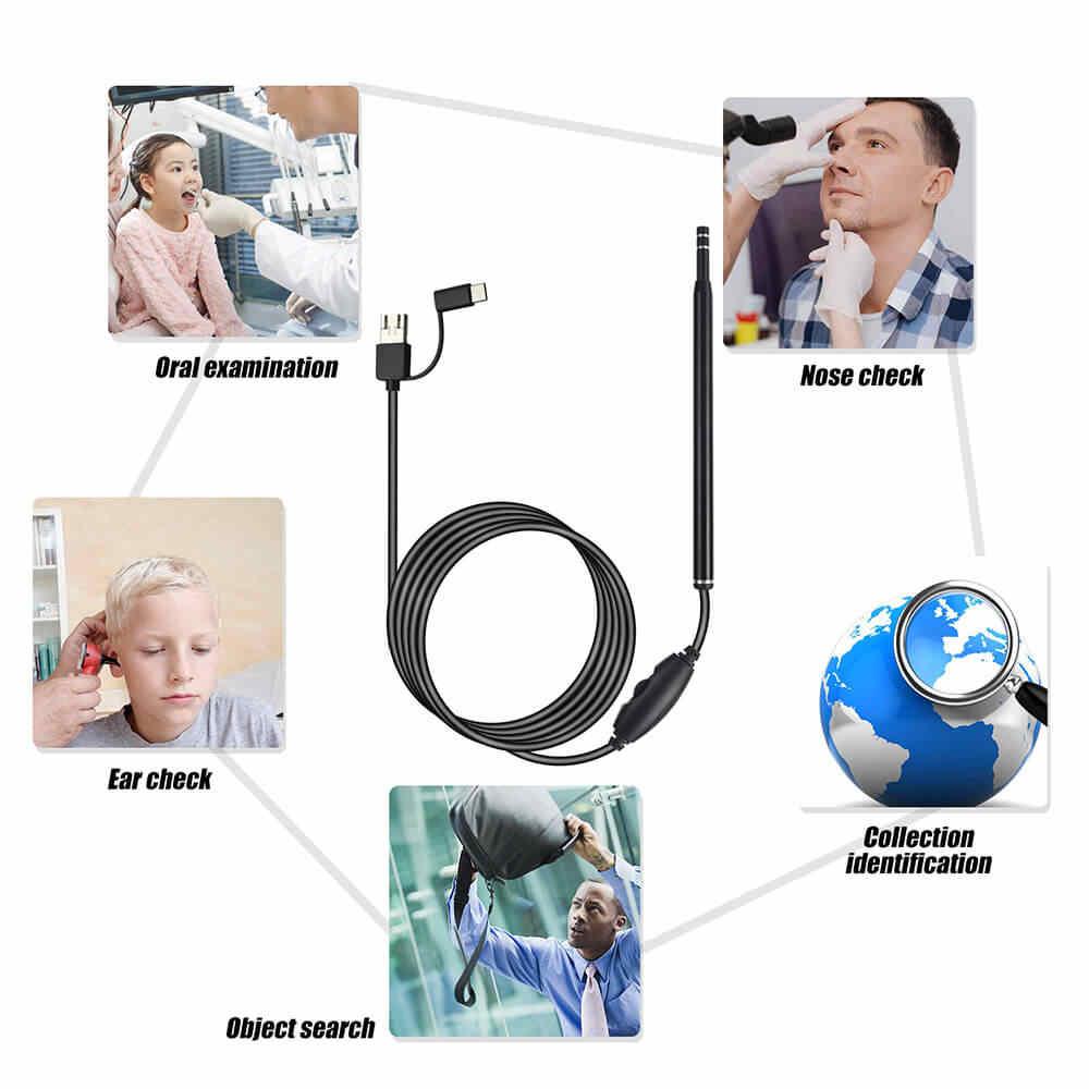 Y tế Trong Vệ Sinh Tai Camera Nội Soi Thìa Camera Mini Tai Chọn Lấy Ráy tai Loại Bỏ Hình Ảnh Tai Miệng Mũi Otoscope Hỗ Trợ Android MÁY TÍNH