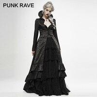 PUNK RAVE Women's Gothic Witch Wedding Dress Long Coat Jacquard Lace Applique Decoration Party Evening Dinner Jacket