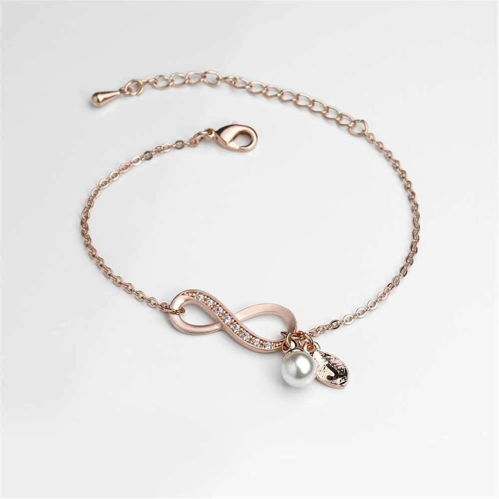 คริสตัล Infinity Love Pearl Letter กำไลข้อมือที่กำหนดเอง Leaf จดหมายเริ่มต้น Charms สร้อยข้อมือเครื่องประดับคู่รักของขวัญ