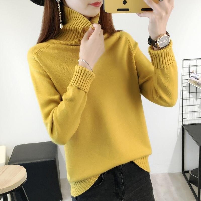 14 цветов,, осенне-зимний свитер, Женский вязаный свитер с высоким воротом, повседневный мягкий модный тонкий женский эластичный пуловер NS9097 - Цвет: jianghuang