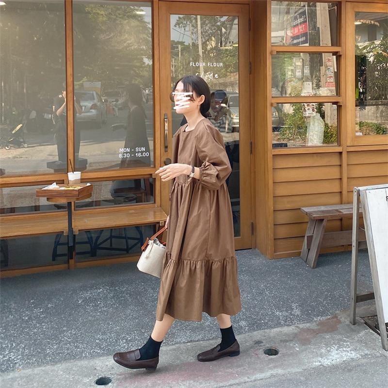 H3b098989d91047a98257e82de3e00bb8g - Spring / Autumn Square Collar Long Lantern Sleeves Loose Solid Midi Dress