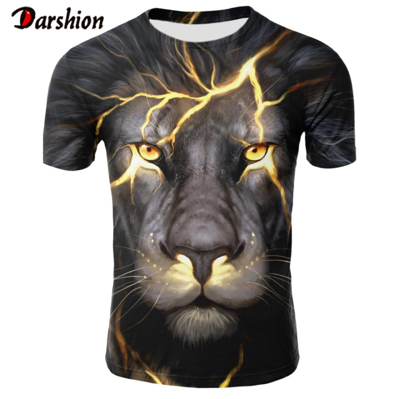 Summer Hot Sale Men's O-Neck Short Sleeves Clothing Animal Lion 3D Printed T Shirt Large Size Top Tees Men T-shirt Plus 4XL Size