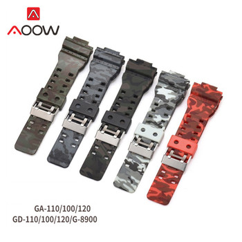 16mm Silicone Watchband for Casio G-Shock GA-110 GA-100 GA-120 Camouflage Rubber Waterproof Men Watch Band Strap G Shock - discount item  59% OFF Watches Accessories