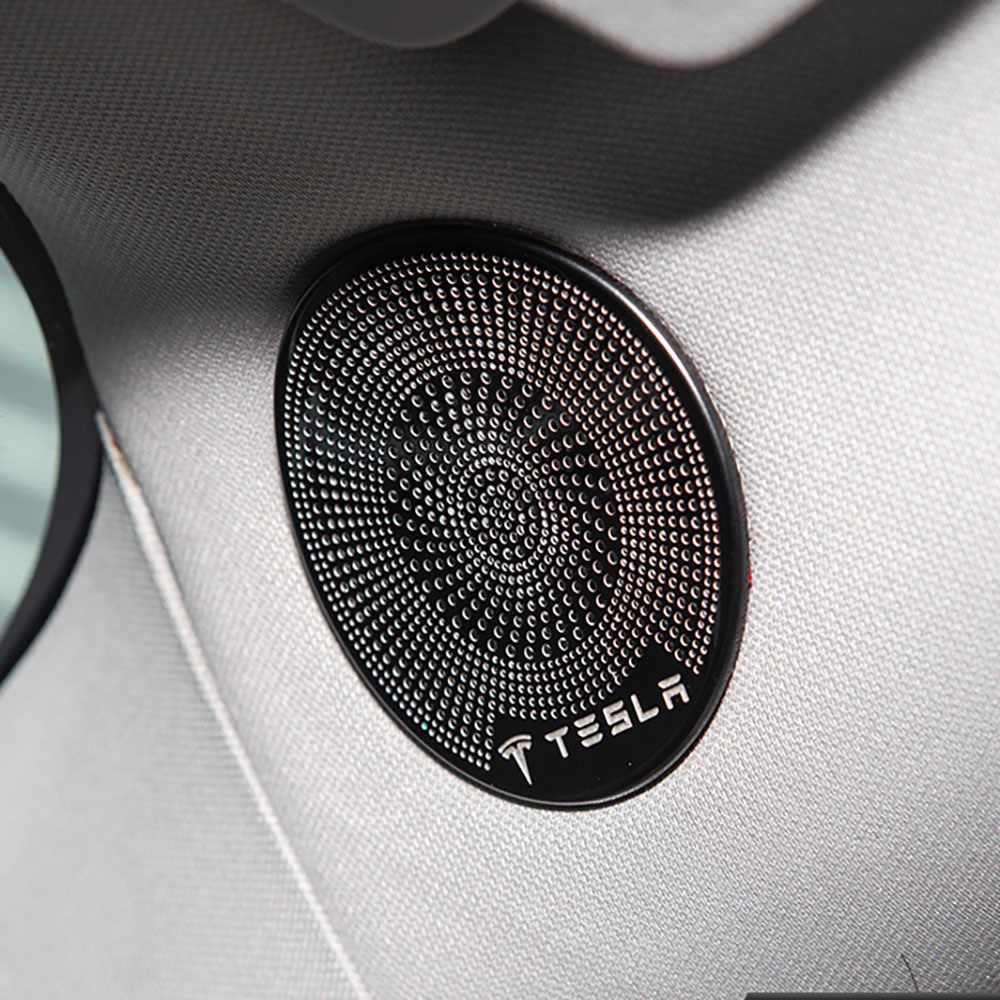 cheapest 2PCS Black Stainless Inner Door Stereo Speaker Cover Trim For Tesla Model 3 2017-2020