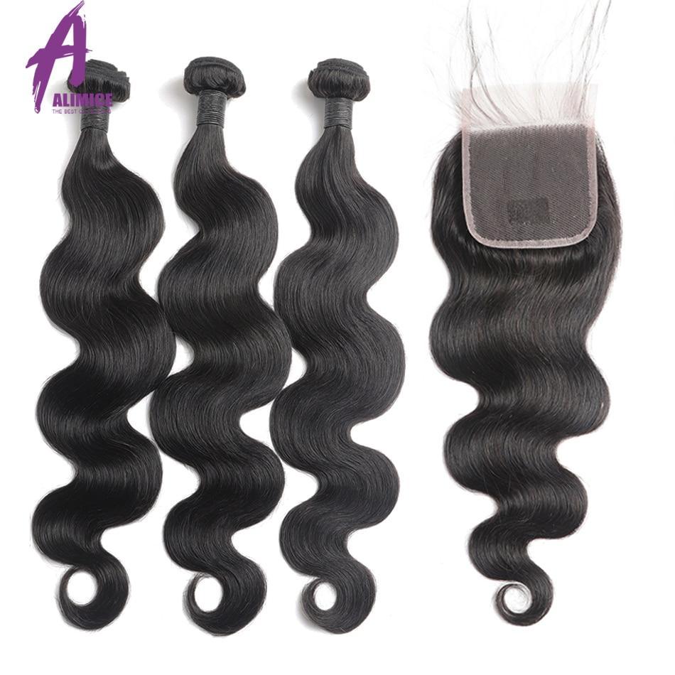 Alimice 8-30 Inch Bundles With Closure Peruvian Body Wave Hair Bundles With Closure Remy Human Hair Weave Bundles With Closure