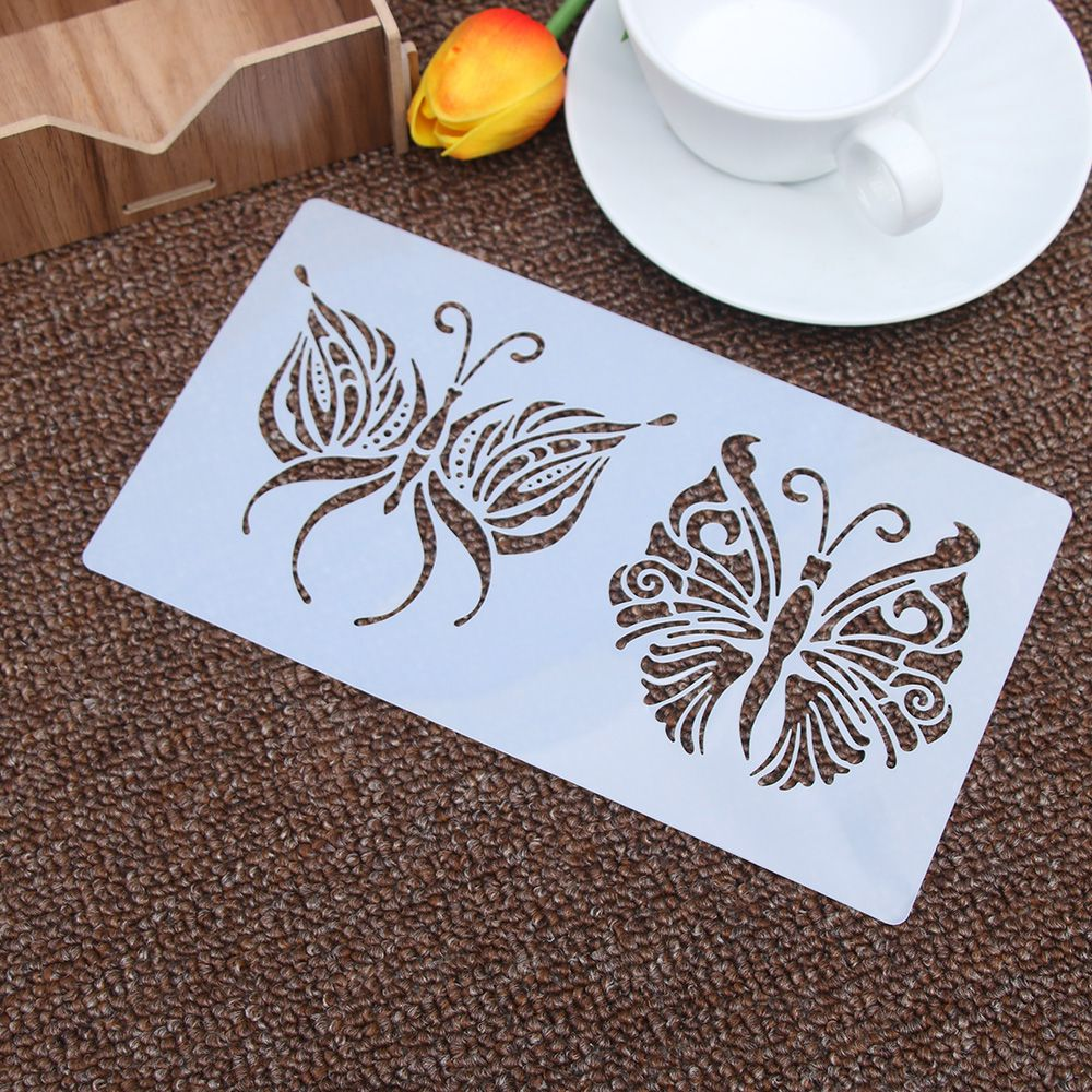 Floral Butterfly Reusable Stencil Airbrush Painting Art Cake Spray Mold DIY Decor Crafts
