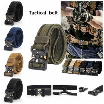Men Belt Nylon Tactical Army Belts For Trousers Metal Buckle Canvas Outdoor Male Training Black Military Waist D35