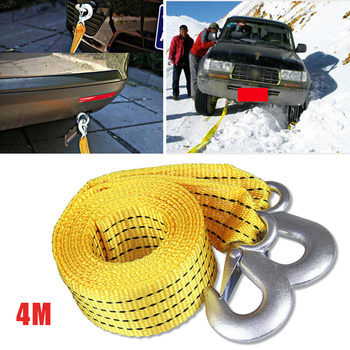 4M Heavy Duty 5 Ton Car Tow Cable Towing Pull Rope Strap Hooks Van Road Recovery for Audi Benz Buick Skoda Mazda Ford Toyota BMW
