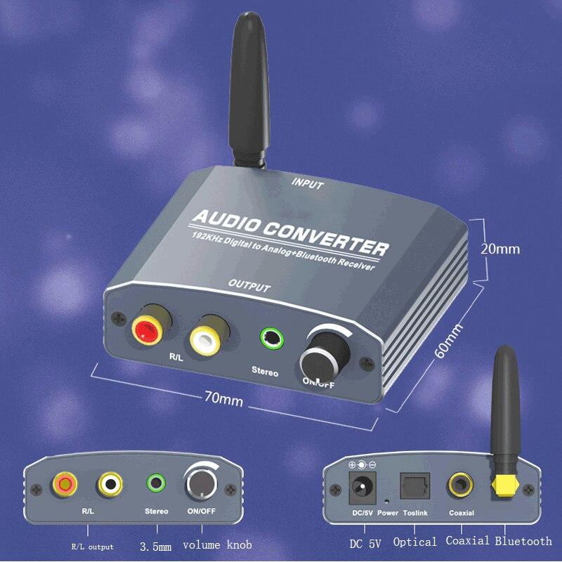 192 Khz Bluethooth Dac Digitaal Naar Analoog Audio Converter Met Bluetooth Ontvanger Ondersteuning 5.1CH Dts Met Volume Control Voor Telefoon 2