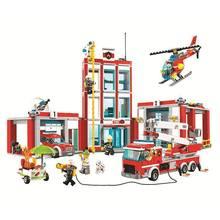 лучшая цена 958pcs City Fire Station Building Blocks Set Technic Truck Car Model Brick Toys For Children Boy Kids Birthday Gifts