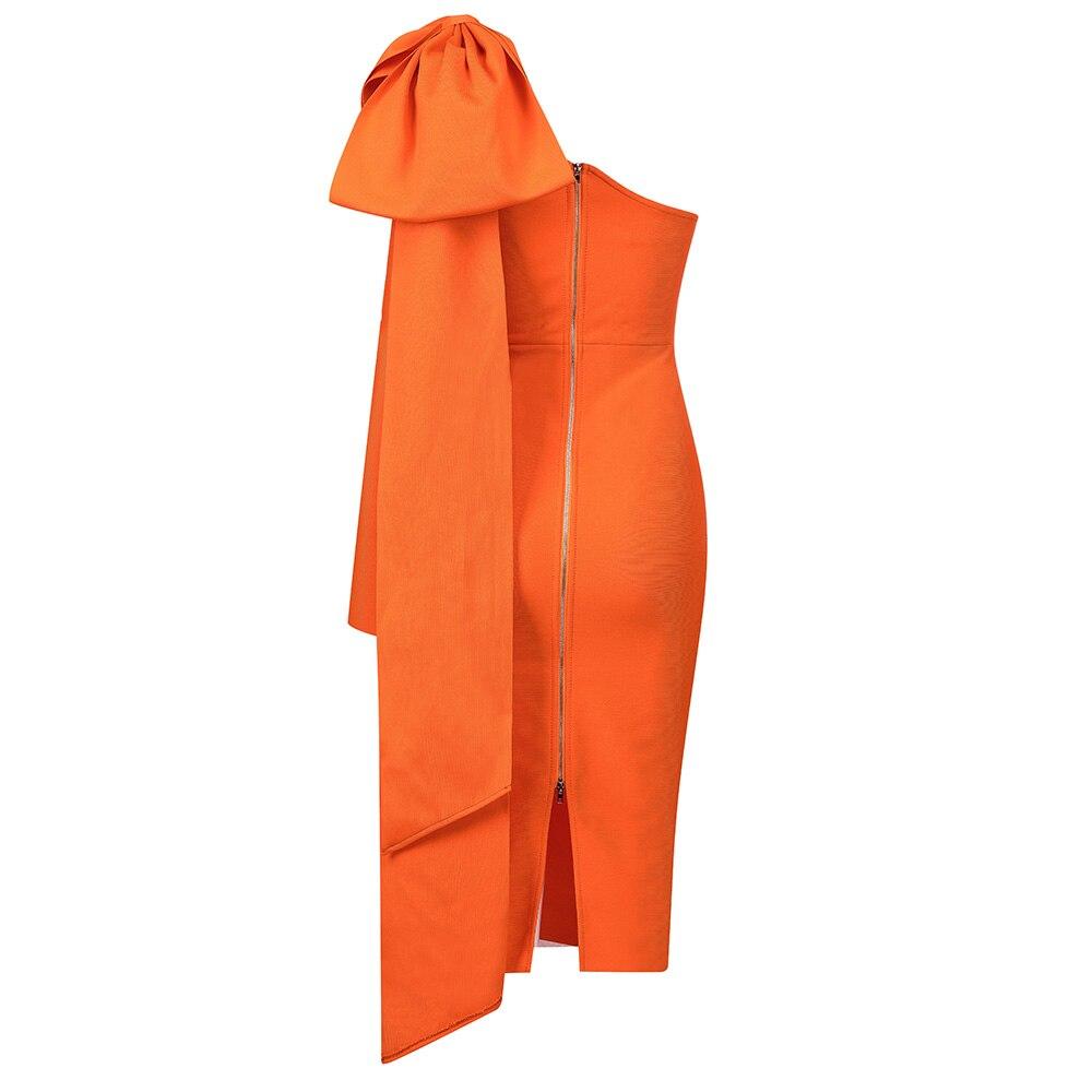 Новая мода шоу стиль Коллекция одно плечо изящные элегантные миди Бандажное женское свадебное платье Оптовая Продажа онлайн