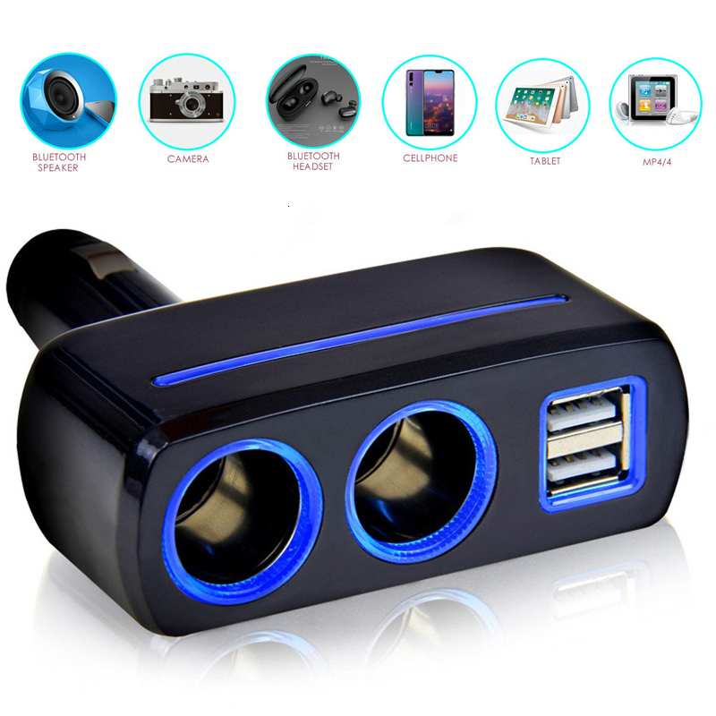 Car Cigarette Lighter Socket Splitter Plug Converter Auto Dual USB 12-24V 120W LED Charger Power Adapter For Phone MP3 DVR GPS