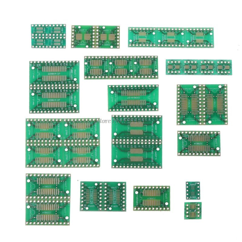 35pcs/7value*5pcs PCB Board Kit SMD Turn To DIP  SOP MSOP SSOP TSSOP SOT23 8 10 14 16 20 24 28 SMT To DIP Whosale&Dropship